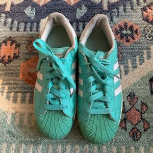 Custom Adidas Superstar Teal with White Stripes